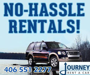 Journey Car Rental : We'll pick you up at Bozeman airport (free), load your ski and outdoor gear, and have you on your way to fishing, Big Sky or Bridger Bowl skiing or Yellowstone Park. Complimentary fly rod & ski racks, FREE baby seats. Our vehicles are near-new and way less than new airport-based vehicles.