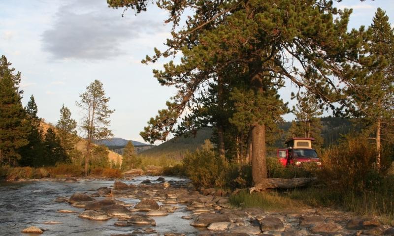 Camping just south of Big Sky Montana