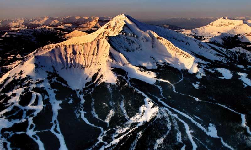 Moonlight Basin Lone Peak Ski Resort Big Sky Montana Aerial Winter Snow