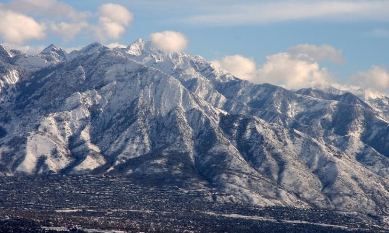 Salt Lake City Utah Winter Wasatch Mountains